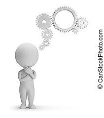 persone, -, meccanismo, pensiero, piccolo, 3d