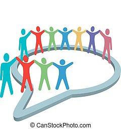 persone, media, dentro, mani, discorso, sociale, presa, bolla