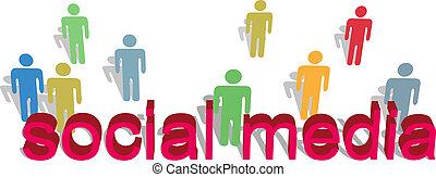 persone, media, simbolo, testo, parole, sociale