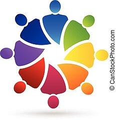 persone, media, sociale, logotipo, lavoro squadra