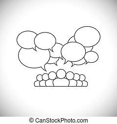 persone, media, -, vettore, disegno, sociale, comunicazione, linea