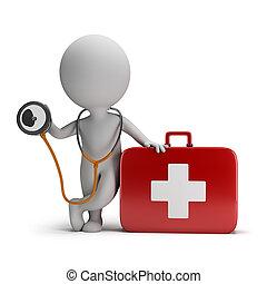 persone, medico, -, kit, stetoscopio, piccolo, 3d