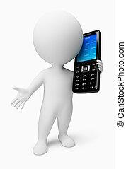 persone, mobile, -, telefono, piccolo, 3d