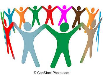 persone, molti, simbolo, su, colori, diverso, mani, anello, presa, miscela