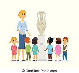 persone, museo, -, isolato, illustrazione, cartone animato, bambini, caratteri, insegnante