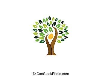persone, naturale, natura, wellness, logotipo, simbolo, logotipo, disegno, salute, albero, icona, vettore