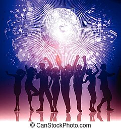 persone, note, silhouette, musica, fondo, festa