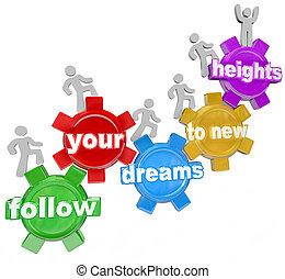 persone, nuovo, altezze, ingranaggi, seguire, rampicante, tuo, fare un sogno