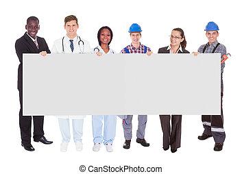 persone, occupazioni, vario, presa a terra, vuoto, tabellone, sorridente