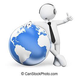 persone., operatore, mondo, sporgente, 3d, bianco