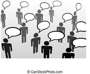 persone parlando, everybodys, bolla, comunicazione, discorso