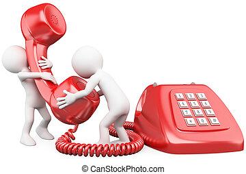 persone parlando, telefono, 3d, piccolo