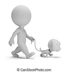 persone, -, passeggiata cane, piccolo, 3d