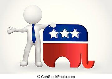persone, piccolo, -, elefante, stati uniti, 3d, simbolo