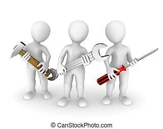 persone, piccolo, tools., 3d
