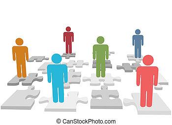 persone, puzzle, pezzi jigsaw, stare in piedi, risorse umane