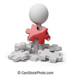 persone, puzzle, -, piccolo, fondare, 3d