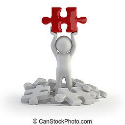 persone, puzzle, -, piccolo, rosso, 3d