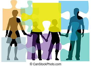 persone, puzzle, problema, consiglio, famiglia, soluzione