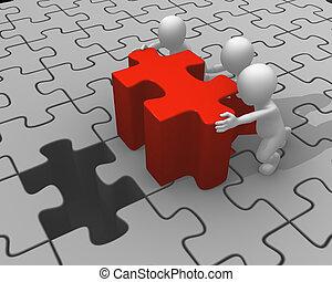 persone, puzzle, spinta, pezzo, rosso, 3d