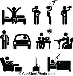 persone, quotidiano, segno, routine, icona, uomo