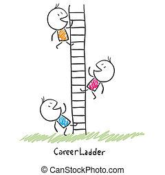 persone, rampicante, concettuale, carriera, ladder., affari, corporativo, su, illustrazione