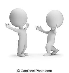 persone, riunione, -, due, piccolo, amici, 3d