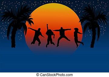 persone saltando, sunset., amici, silhouette, joy.