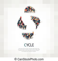 persone, segno, ciclo, 3d