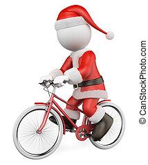 persone., sentiero per cavalcate, bianco, babbo natale, bicicletta, rosso, 3d