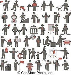 persone., set, icone