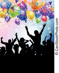 persone, silhouette, fondo, coriandoli, festa, palloni