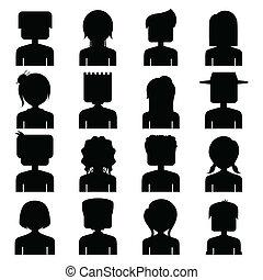 persone, silhouette, icona