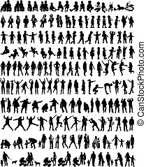 persone, silhouette, miscelare, vettore, lavoro