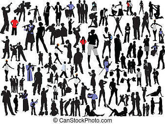persone, silhouettes., vettore, colomba, 100
