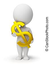 persone, -, simbolo, dollaro, mani, piccolo, 3d