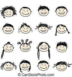 persone sorridenti, disegno, tuo, icone