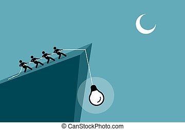 persone, su, idea, giù, tirare, rope., usando, cadere, scogliera