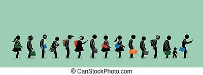persone, su, lungo, messa in lista d'attesa, coda, linea.