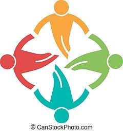 persone, suolo, altro., 4, porzione, icona, cerchio, vettore, ciascuno