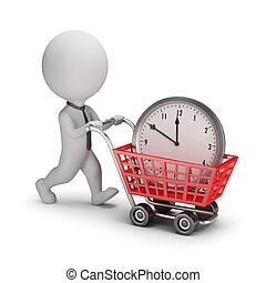 persone, -, tempo, piccolo, uomo affari, comprato, 3d