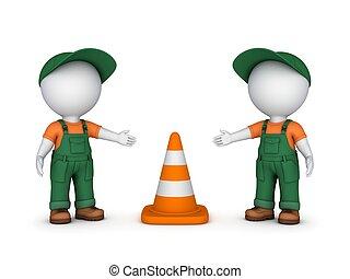 persone, traffico, cone., 3d, piccolo