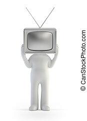 persone, tv, -, piccolo uomo, 3d