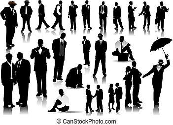 persone ufficio, colorare, silhouettes., uno, vettore, scatto, cambiamento