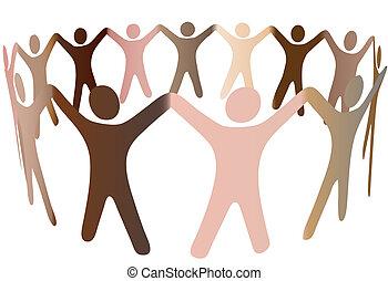 persone umane, diverso, toni, pelle, anello, miscela