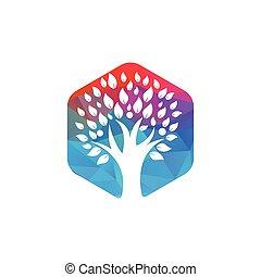 persone umane, icona, albero, astratto, vector., vita, logotipo
