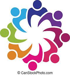 persone, unione, vettore, lavoro squadra, 8, logotipo