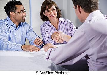 persone, uomini, tre, tremante, mani affari, riunione