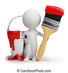 persone, -, vernice, strega, spazzola, piccolo, 3d