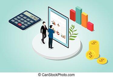 persone, vettore, analisi, finanziario, isometrico, assegno, grafico, dati, -, soldi